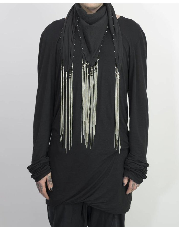 DAVID'S ROAD SQUARE SCARF WITH METAL DETAILS BLACK