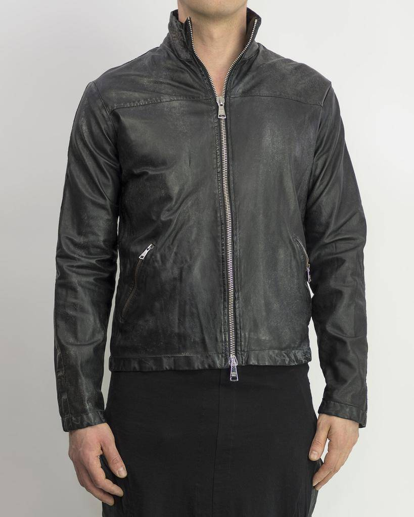 DISTRESSED PAPER LEATHER ZIP FRONT JKT