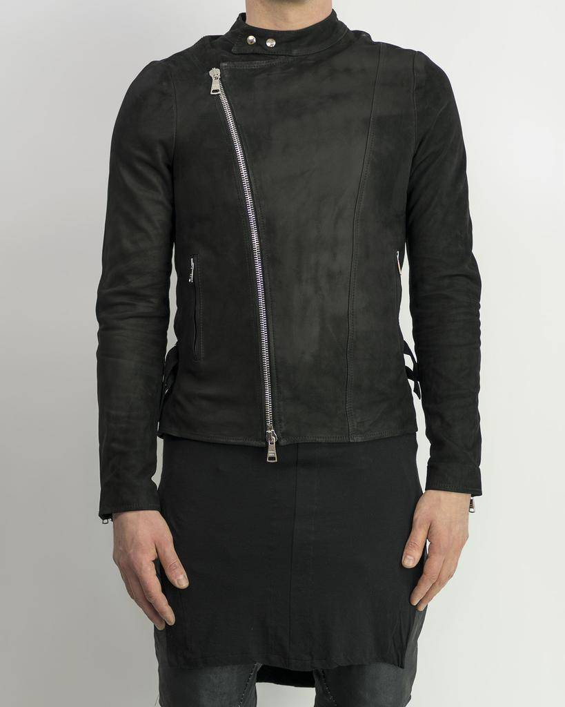 BIKER JACKET IN OILED LEATHER