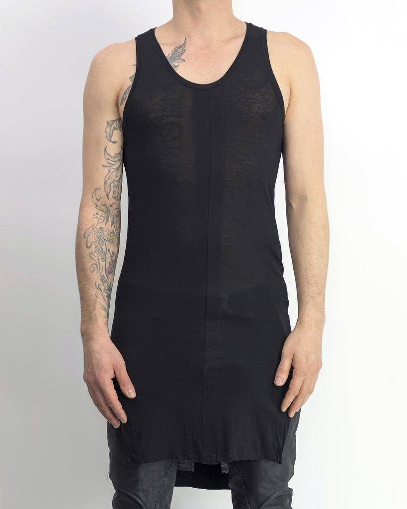 COTTON SILK PANEL TANK BLACK