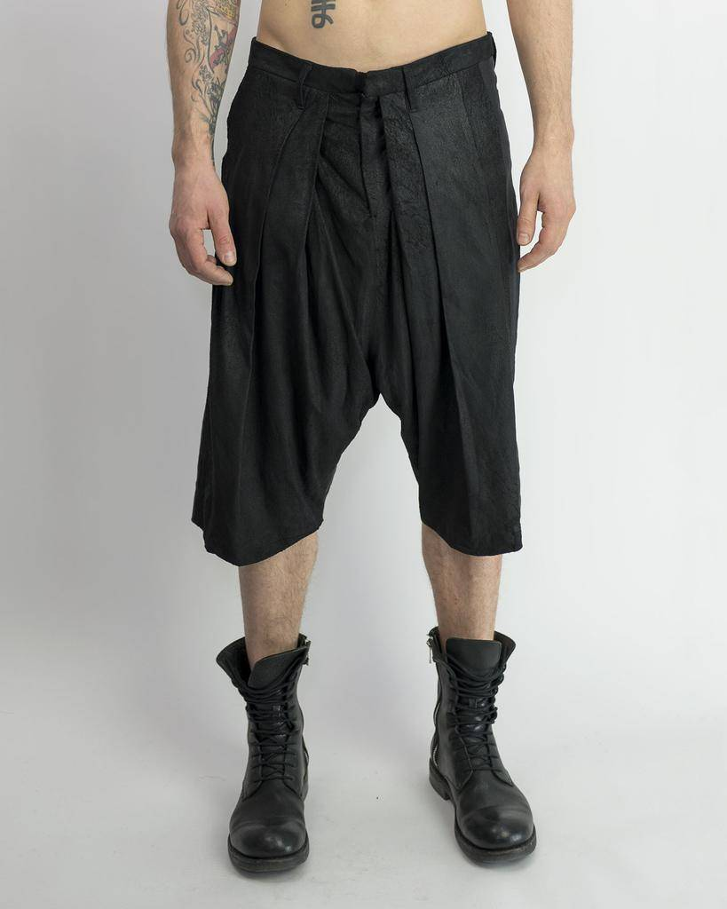 BRUSHED LEATHER LOW CROTCH SHORTS