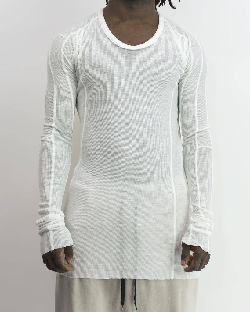 LONG SLEEVE RIB  T CUPRO LINEN