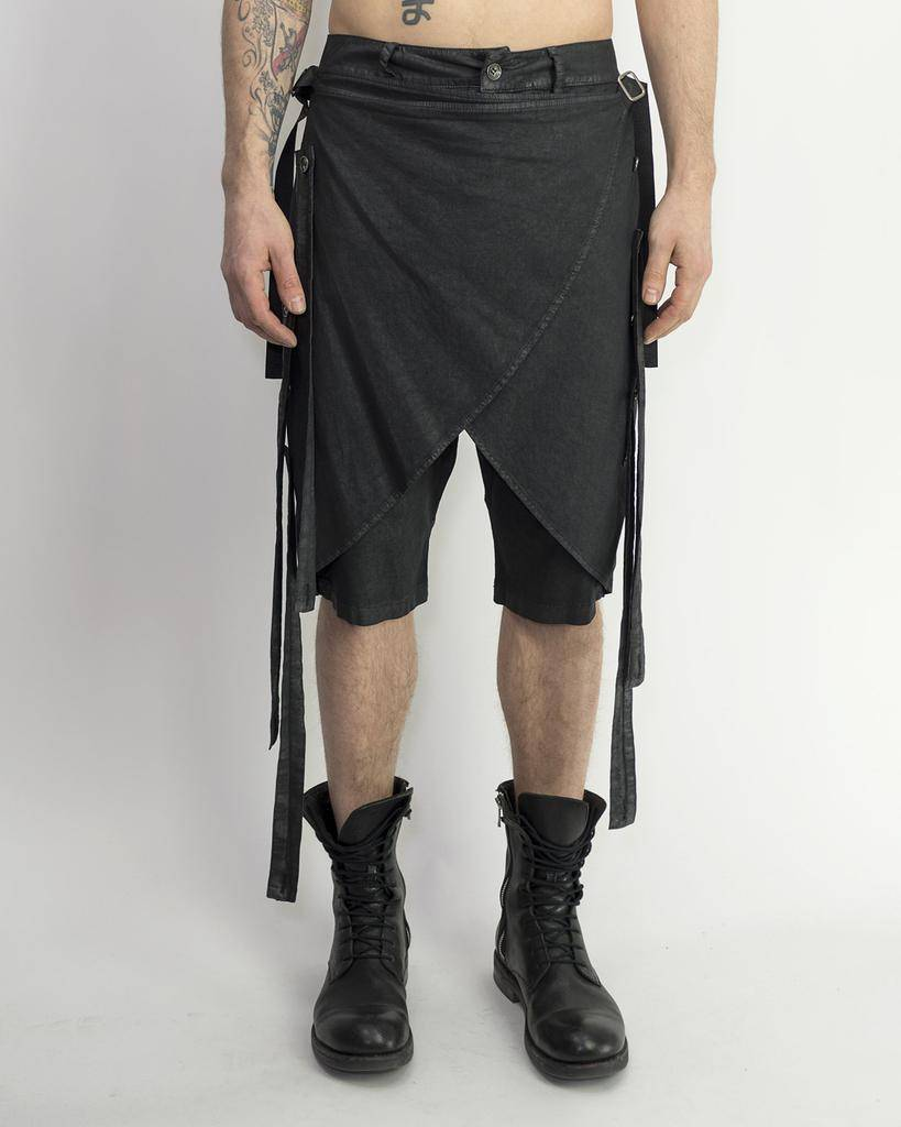 SKIRTED STRAP DROP CROTCH SHORT