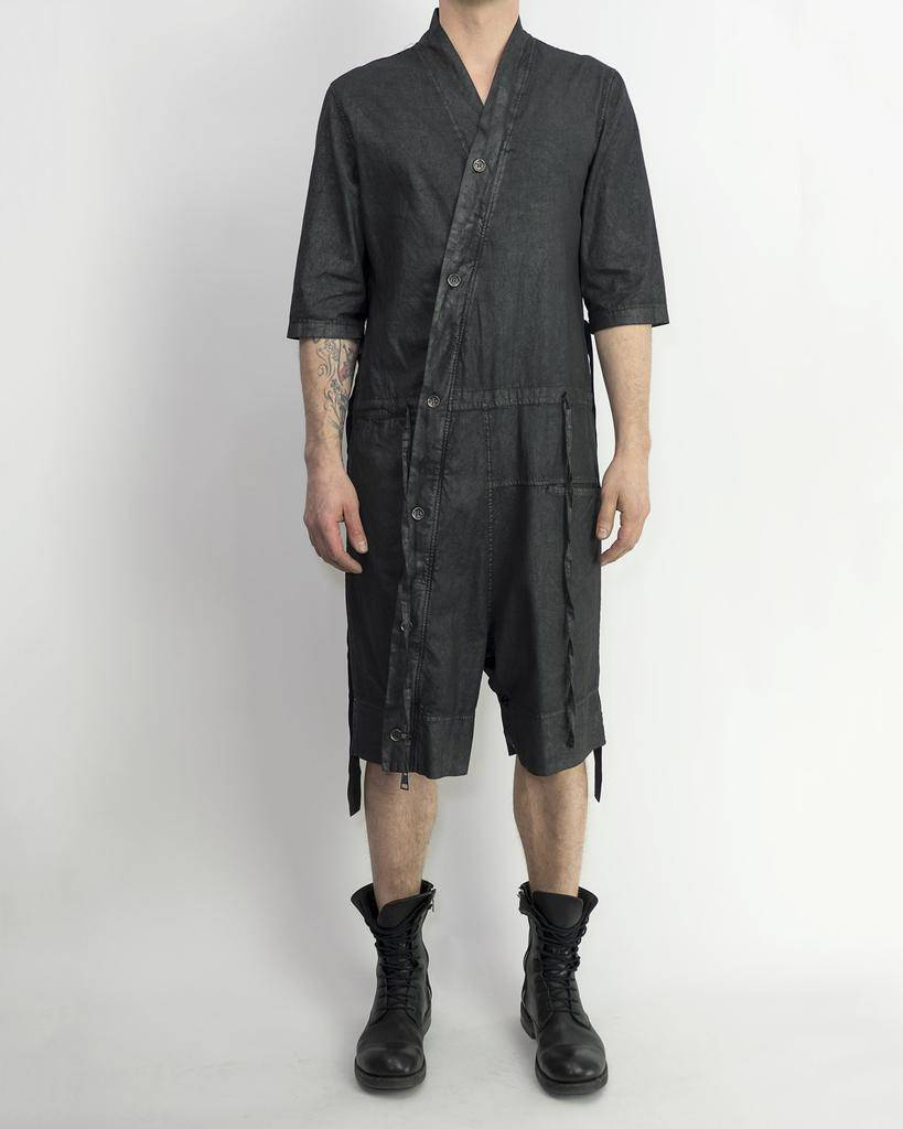 WAXED BUTTONED JUMPSUIT
