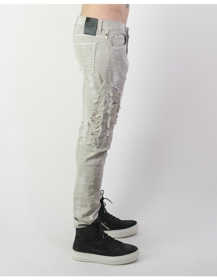 "FAGASSENT ""KNIVES"" BRUSHED DENIM WITH SCRIPT INSERT"