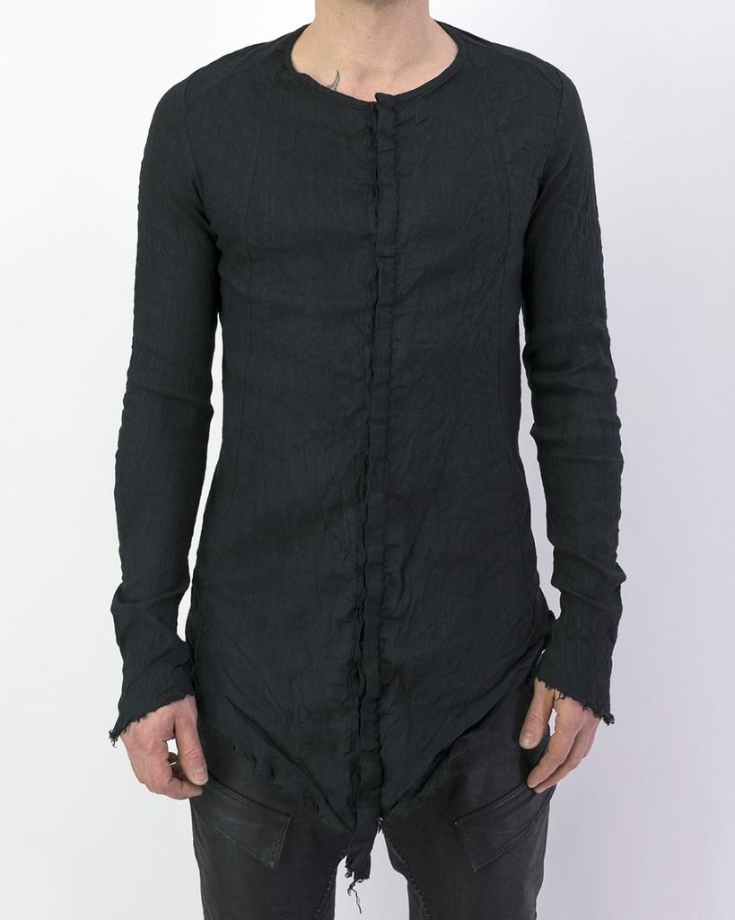 LONG FRONT STRETCH LINEN BUTTON UP