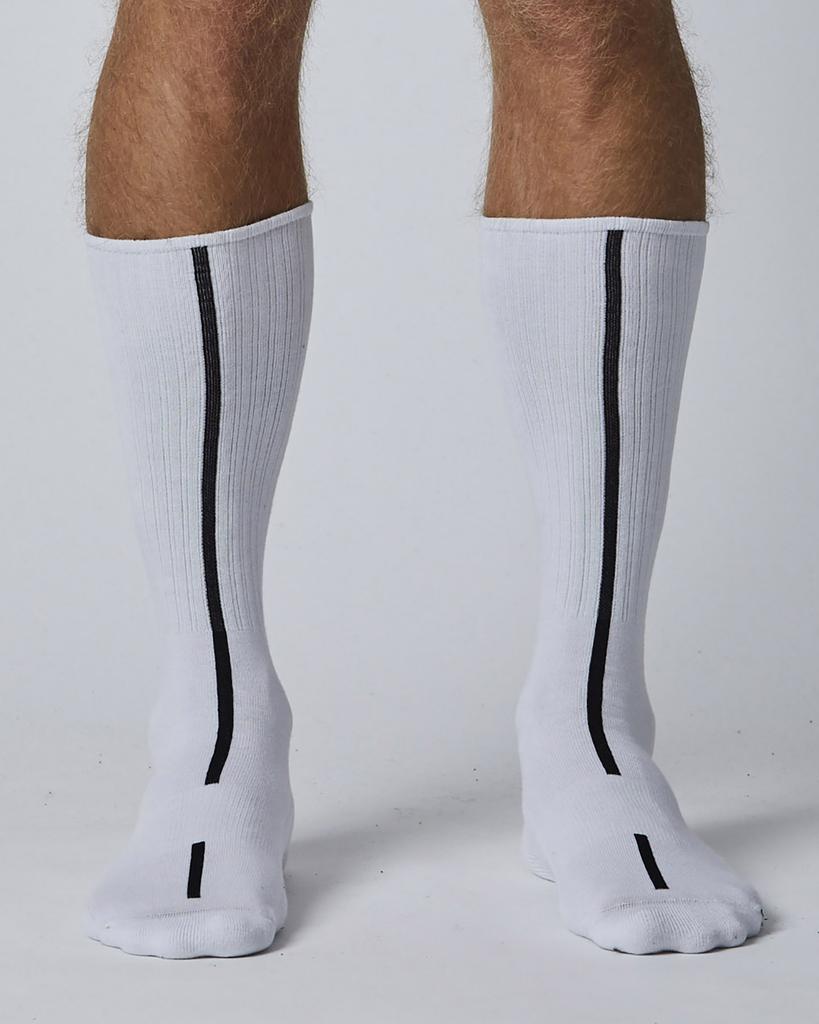 LONG WHITE SOCKS WITH BLACK STRIPE