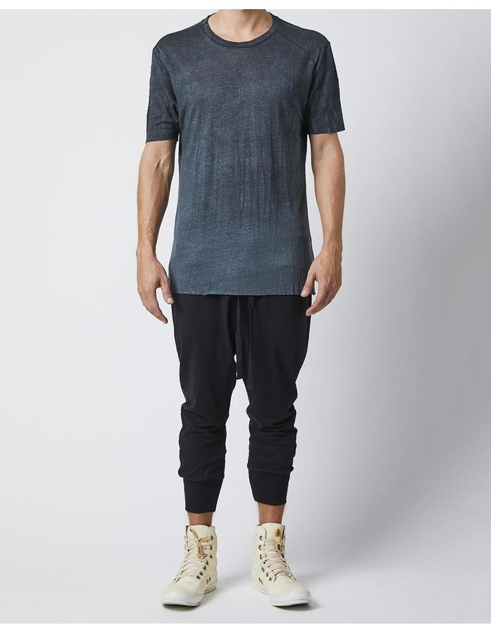 THOM KROM LINEN T-SHIRT WITH STITCH DETAILS - MOLD