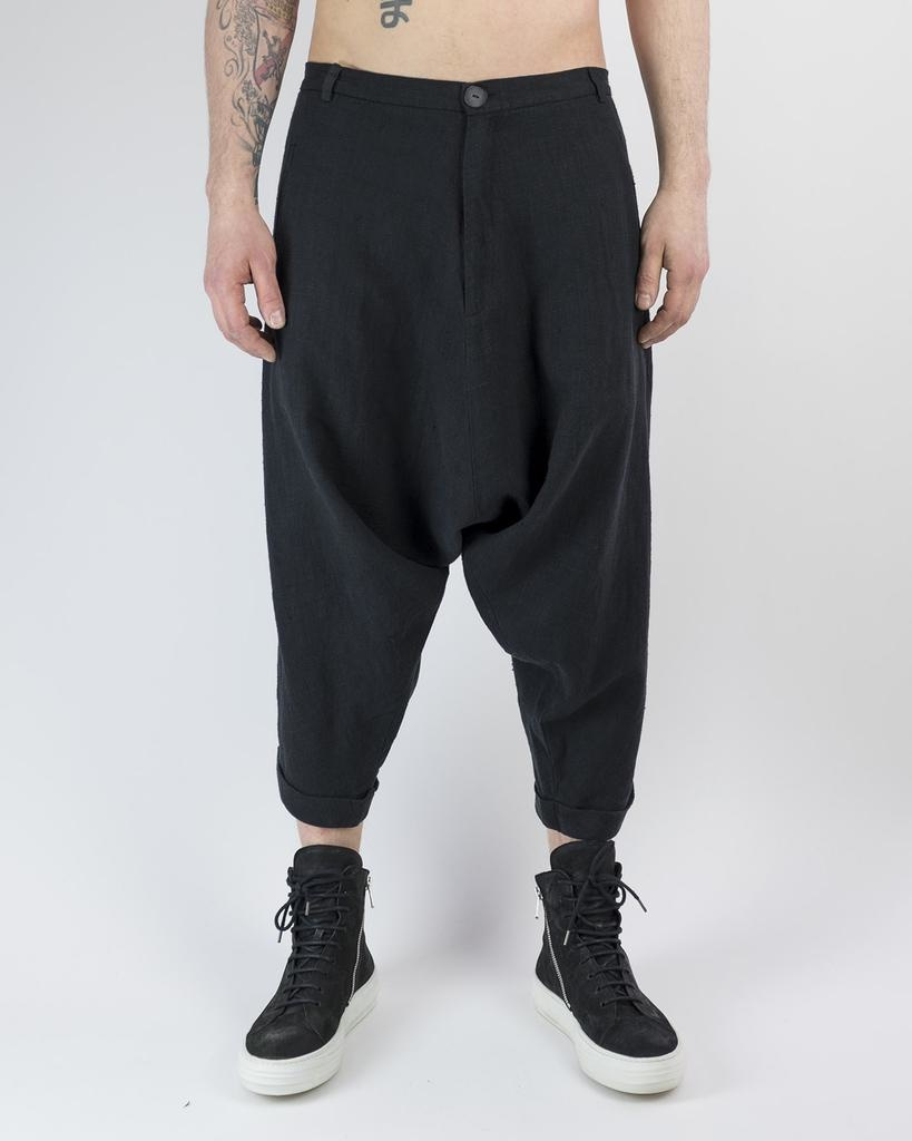 BAGGY CROPPED LINEN TROUSERS 44