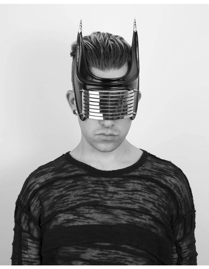 CECILIO LEATHER DESIGNS GRID FACE MASK WITH 8 SLITS