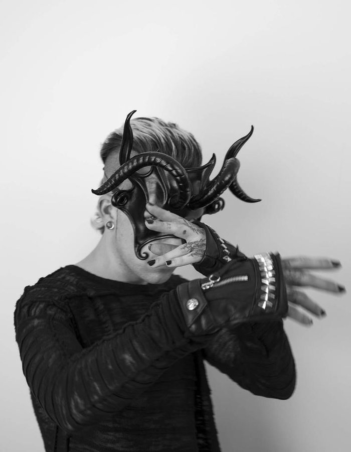 CECILIO LEATHER DESIGNS RAM HORNS FACE MASK