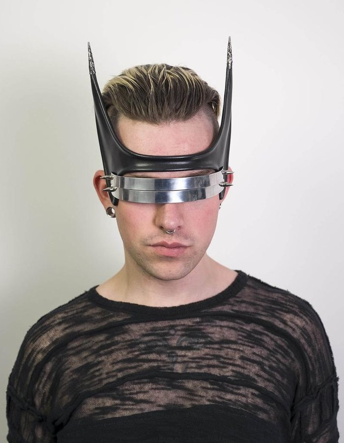CECILIO LEATHER DESIGNS METAL AND LEATHER EYE MASK