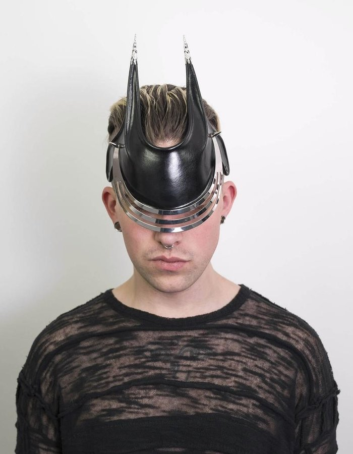 CECILIO LEATHER DESIGNS GRID FACE MASK 3 SLITS