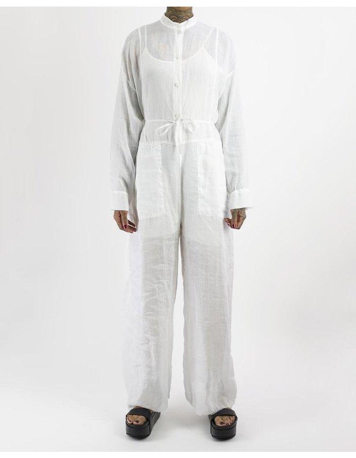 MASNADA COLLARLESS BOILER SUIT - WHITE