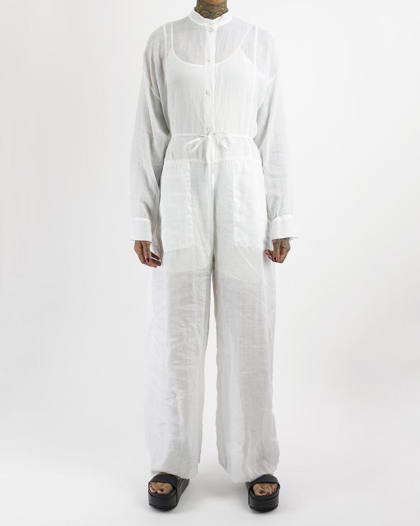 COLLARLESS BOILER SUIT - WHITE