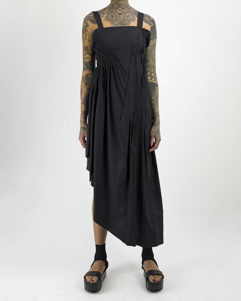 ASYMMETRIC POPLINE DRESS WITH PLEATED DETAILS