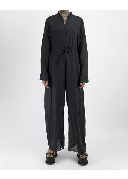 MASNADA COLLARLESS BOILER SUIT - BLACK
