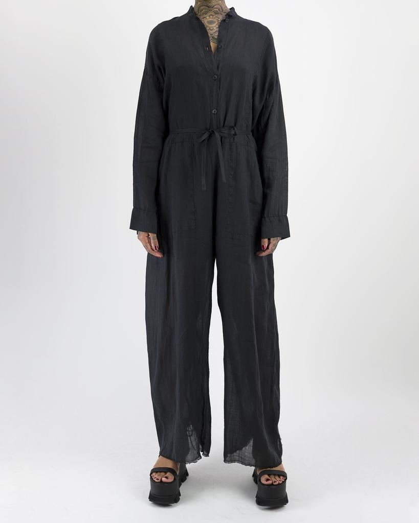 COLLARLESS BOILER SUIT - BLACK