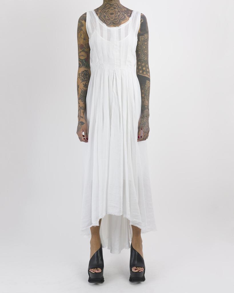 PLEATED DRESS - WHITE