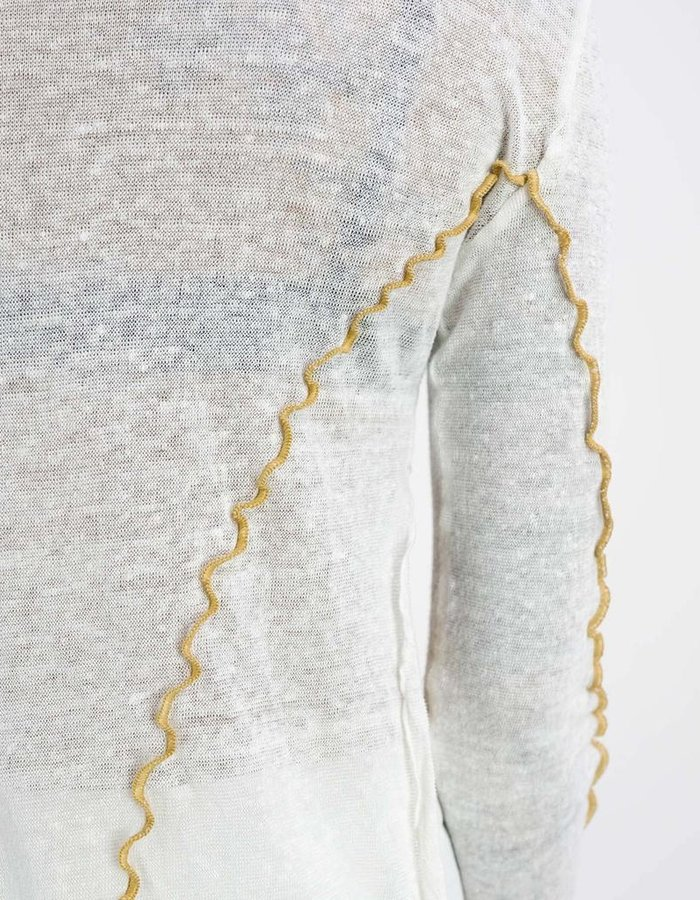 NOSTRA SANTISSIMA DYED LINEN LONG SLV TOP