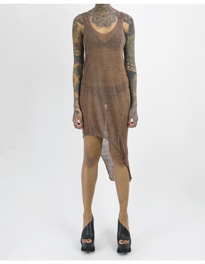 NOSTRA SANTISSIMA LINEN ASYMMETRIC DRESS