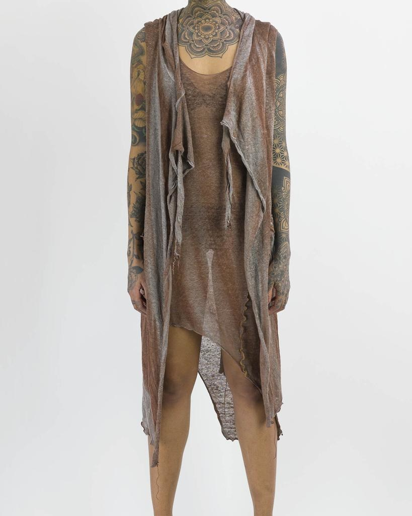 WASH DYE HOODED LINEN VEST