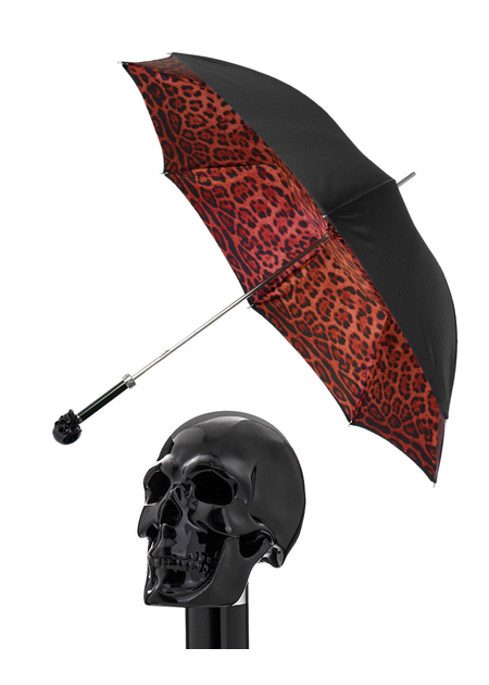 PASOTTI BLACK SKULL/RED LEOPARD DOUBLE UMBRELLA