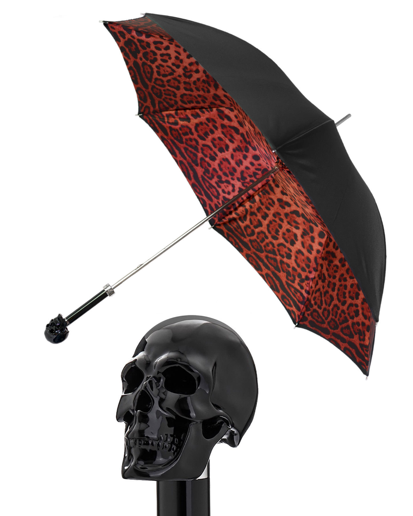 BLACK SKULL/RED LEOPARD DOUBLE UMBRELLA