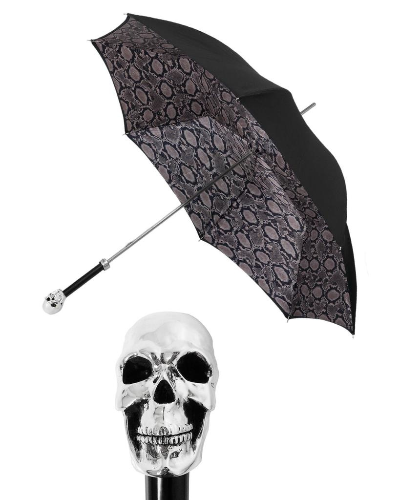 SILVER SKULL/SNAKESKIN DOUBLE UMBRELLA