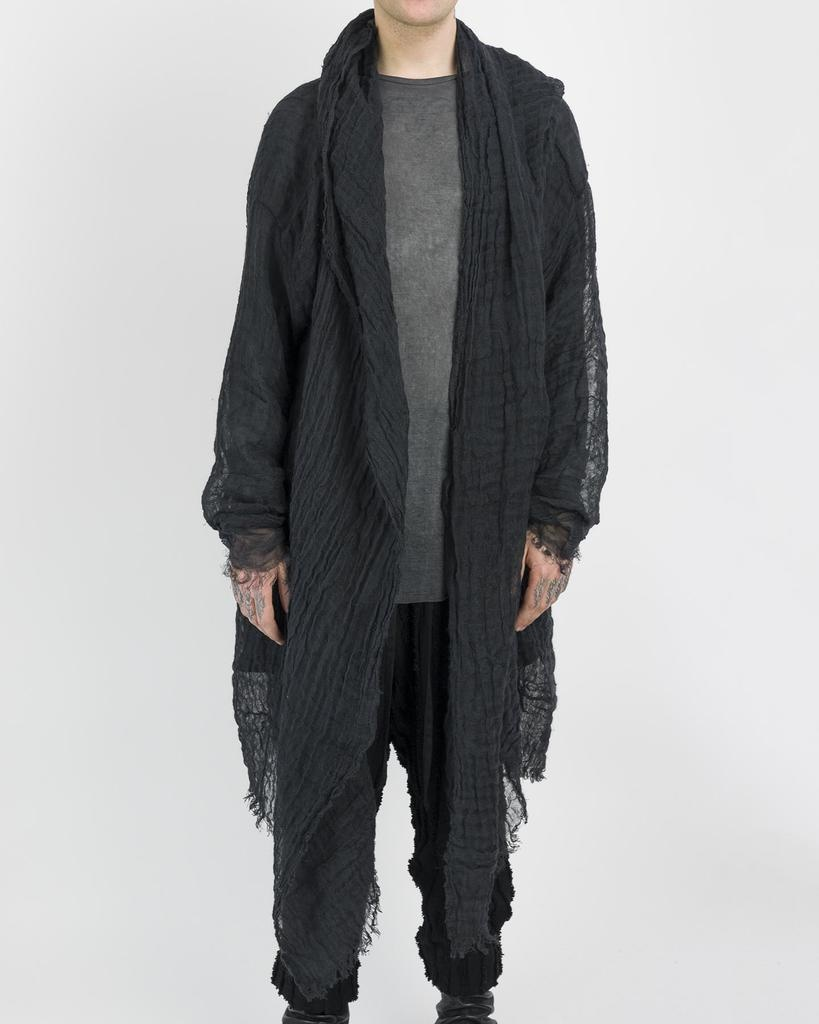 LIGHT LINEN CAPE WITH HOOD