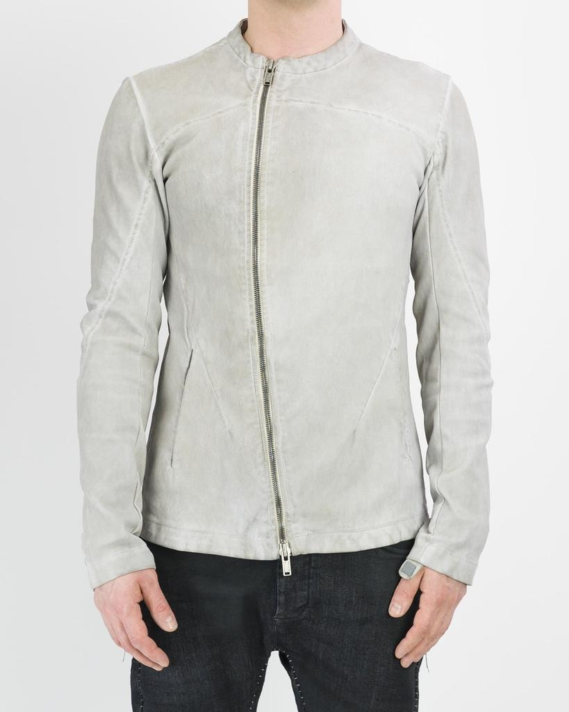 CURVED ZIP STRETCH LEATHER JACKET