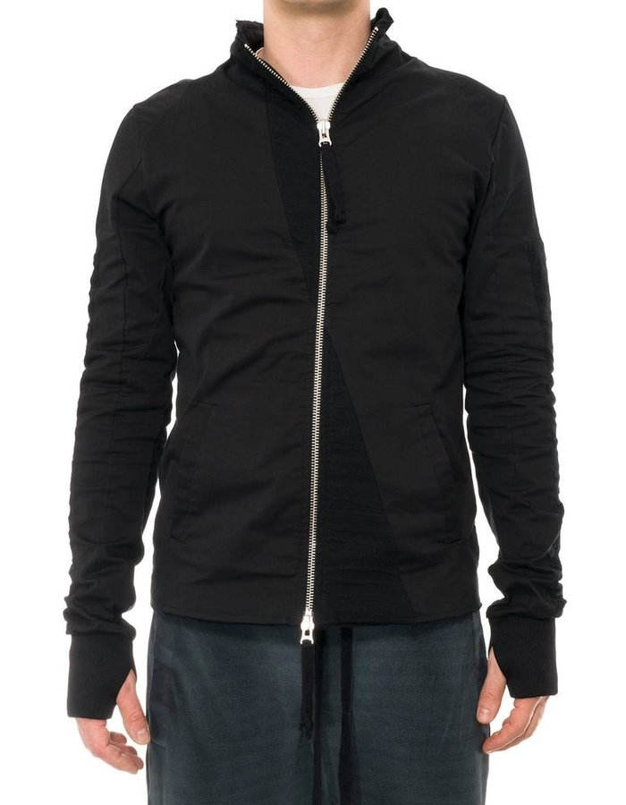 THOM KROM HIGH NECK ZIP FRONT JACKET WITH CONTRAST PANELS