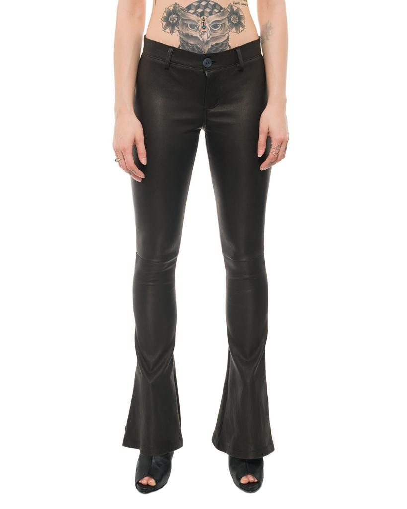 STRETCH LEATHER FLARE PANTS