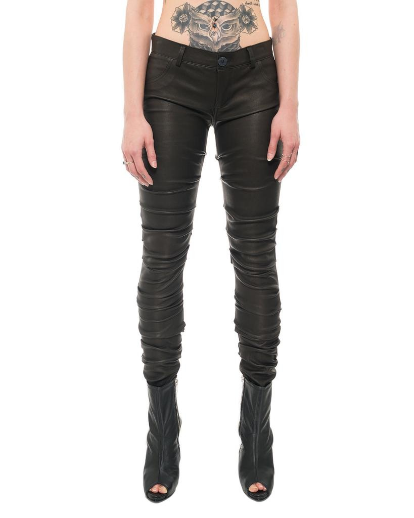 RUCHED LEG LEATHER PANTS