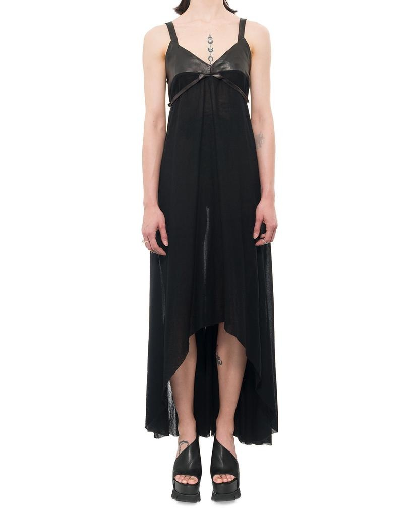 LIGHT COTTON, LEATHER TOP LONG DRESS