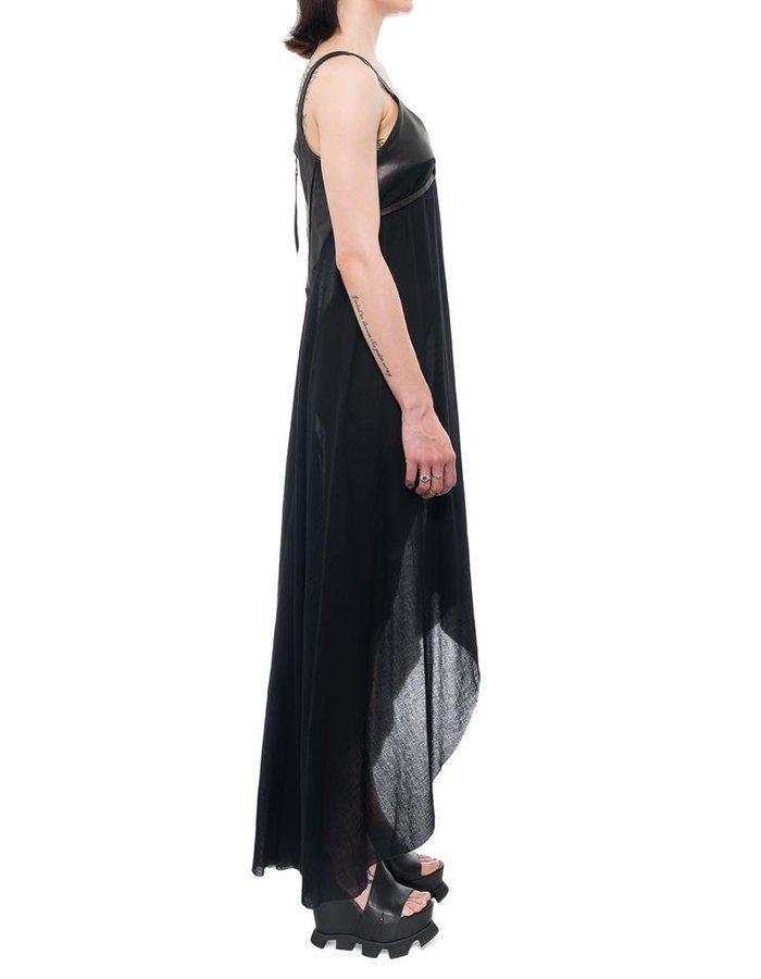 139DEC LIGHT COTTON, LEATHER TOP LONG DRESS
