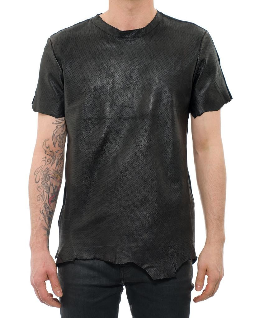 LAMINATED LEATHER T SHIRT