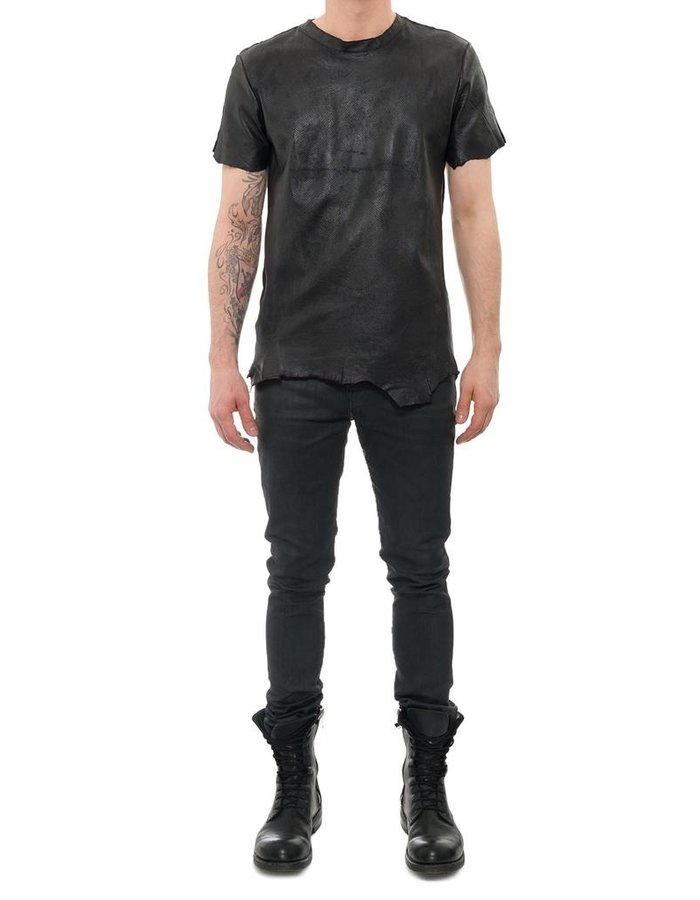 M-OJO RISIN' LAMINATED LEATHER T SHIRT