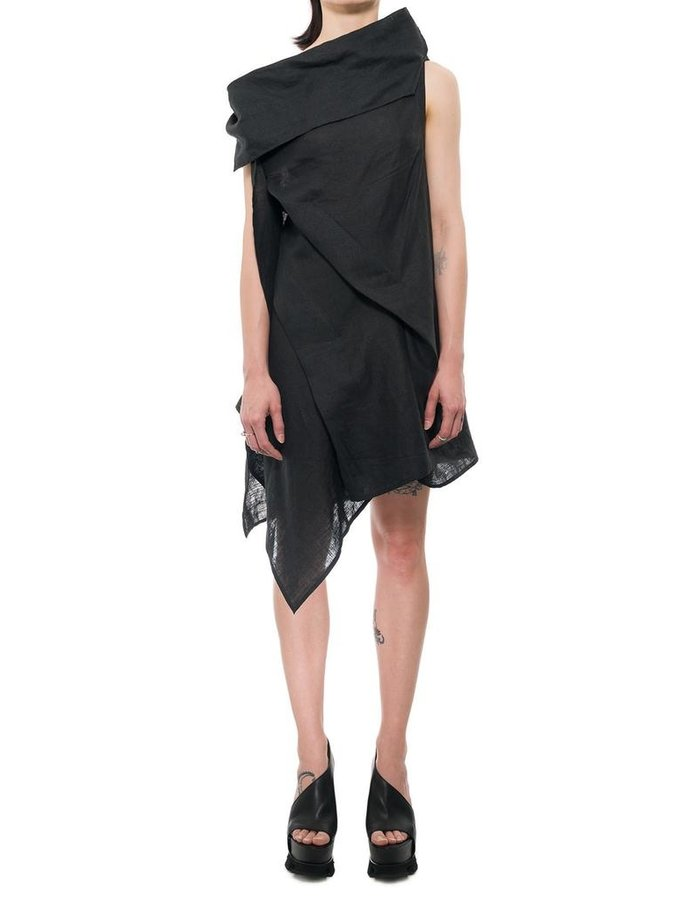 139DEC DRAPE COLLAR SHORT LINEN DRESS