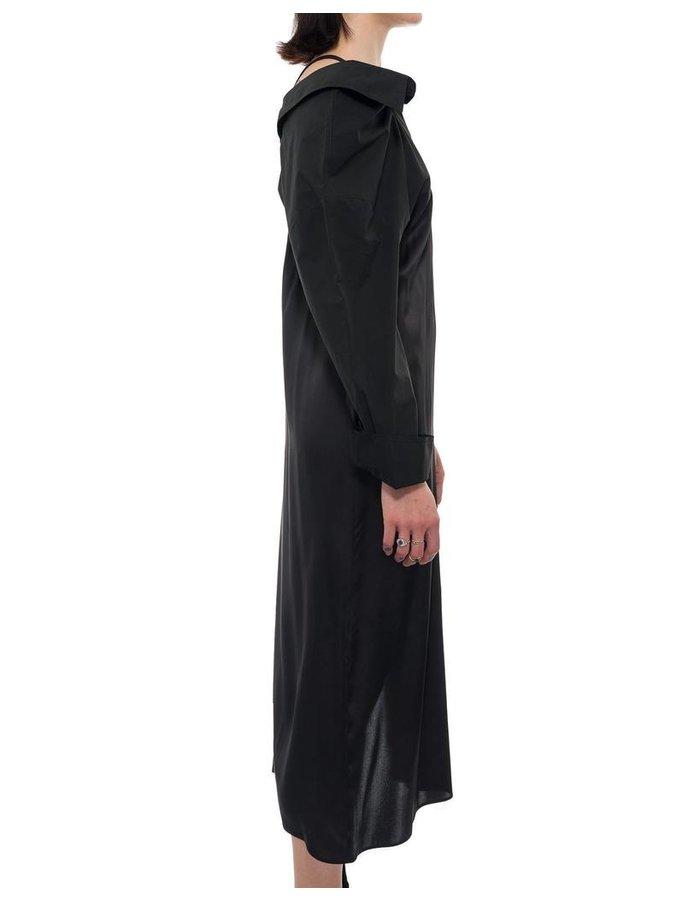 ANDREA YA'AQOV SHIFTED COLLAR ONE SLEEVE DRESS