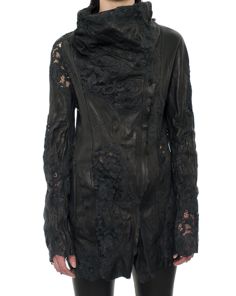 LEATHER COUTURE JACKET WITH EMBROIDERED FLORAL LACE