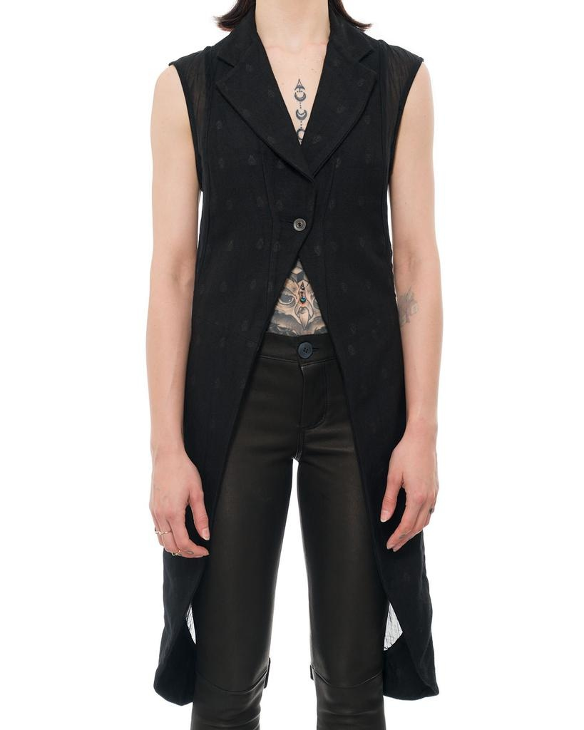 SLEEVELESS WAIST COAT IN PATTERNED WOOL