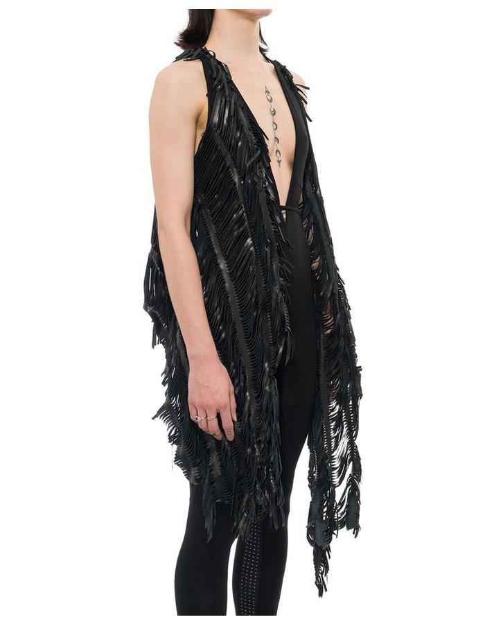CLAUDIO CUTULI LASERED LEATHER SHRUG