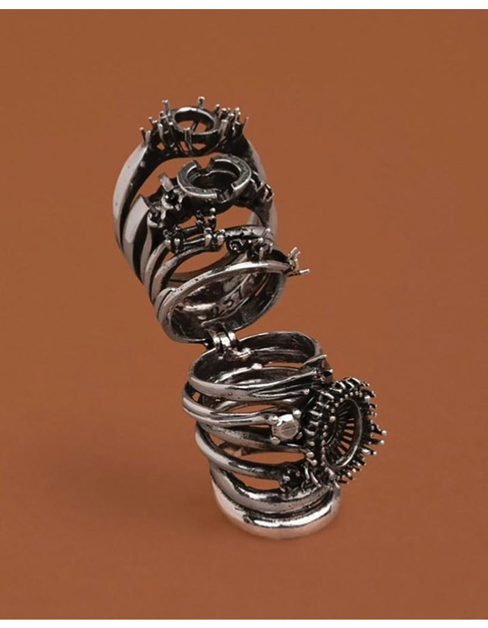 ANGOSTURA JEWELS BURNISHED SILVER STACKED SEGMENT RING