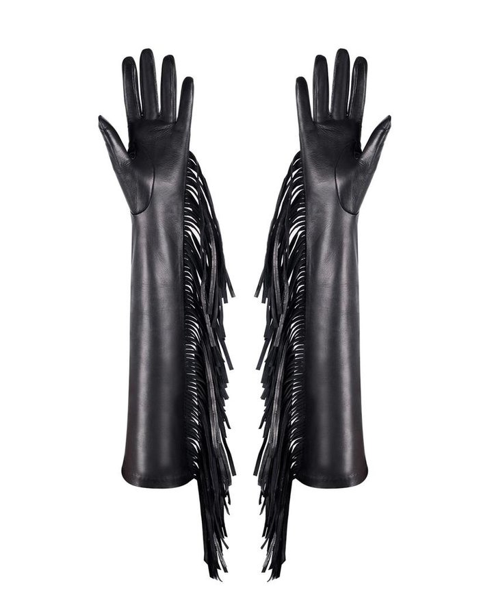 MANOKHI LONG FRINGE LAMBSKIN GLOVES