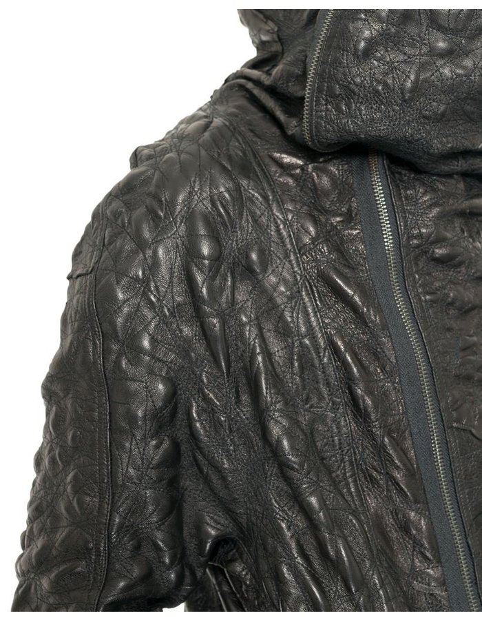 SANDRINE PHILIPPE COUTURE JACKET IN BUBBLED EMBROIDERD LEATHER