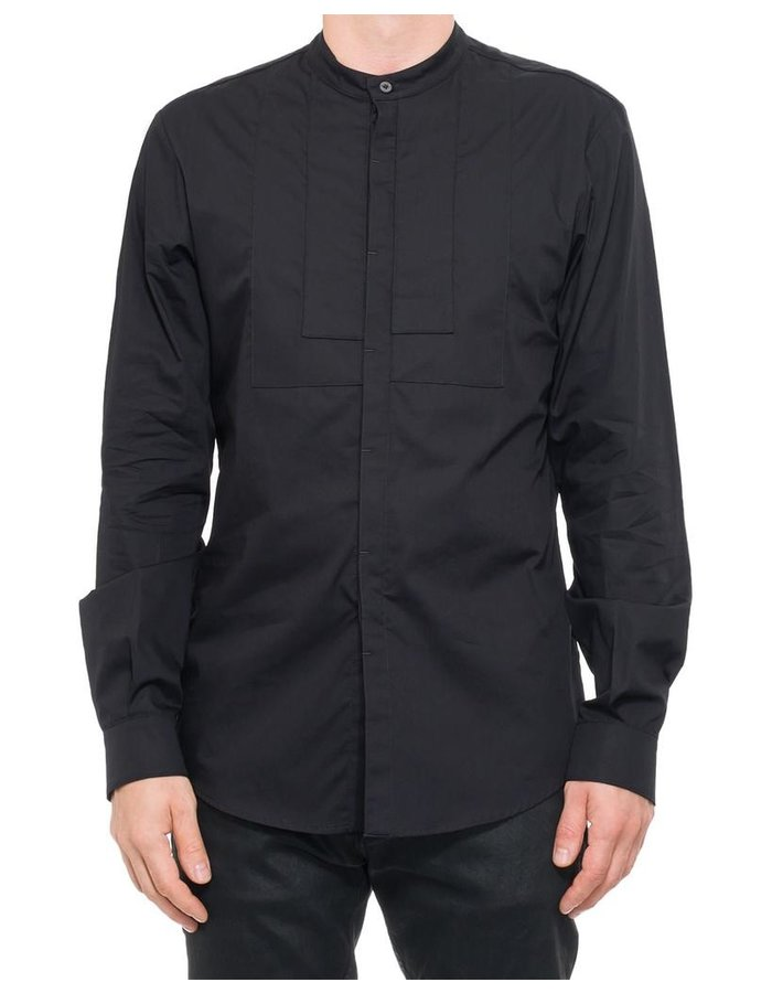 NOSTRA SANTISSIMA MANDARIN COLLAR BUTTON UP WITH CHEST DETAILS