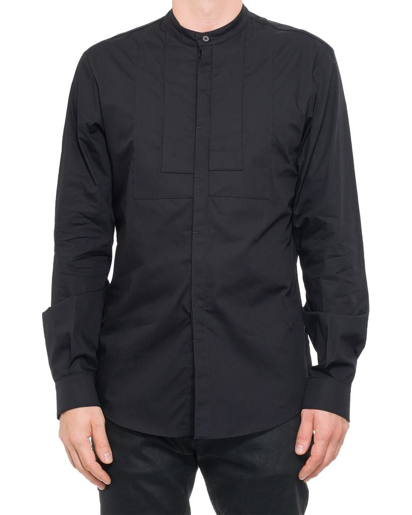 MANDARIN COLLAR BUTTON UP WITH CHEST DETAILS