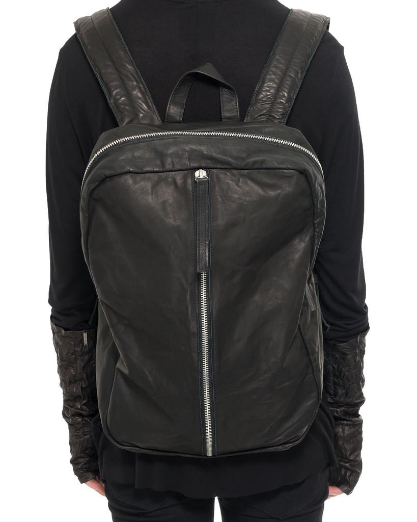 LEATHER BACKPACK WITH STRAIGHT ZIPPER