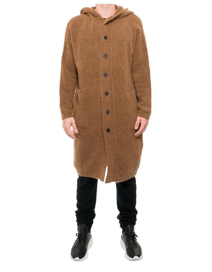 ISABEL BENENATO LONG YAK HOODED CARDIGAN COAT